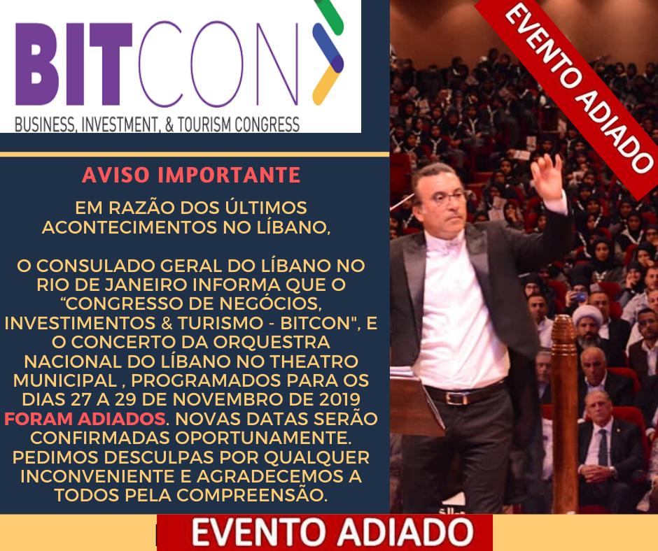 ADIADO O CONGRESSO DE TURISMO & NEGÓCIOS BRASIL LÍBANO!